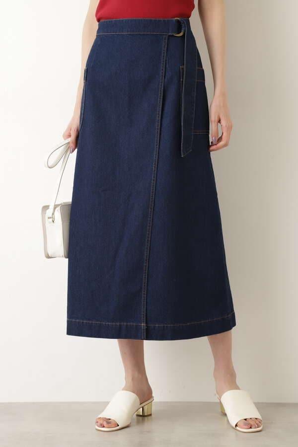 アシメラップデニムスカート