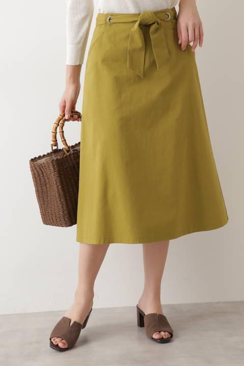 [洗える]ハトメリボンウエストスカート