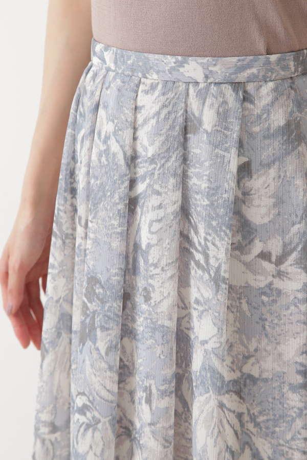 [洗える]楊柳フラワープリントスカート