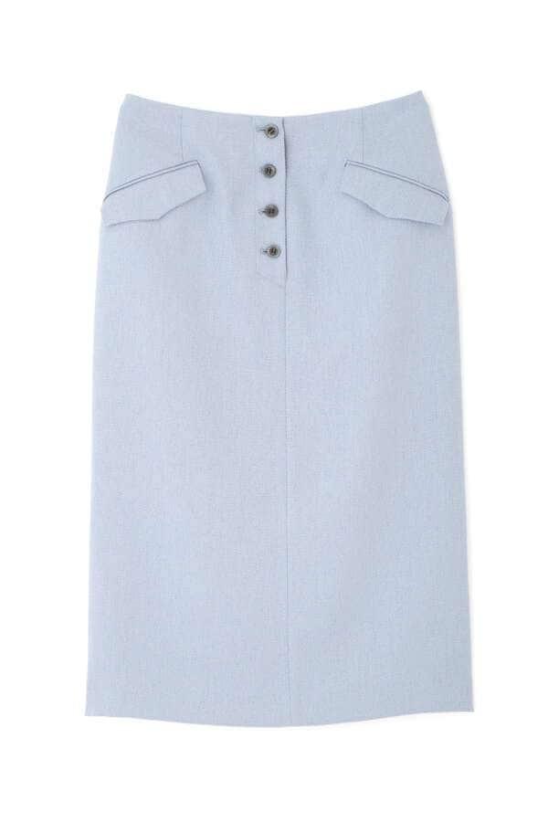 [洗える]フロントボタンナローミディスカート