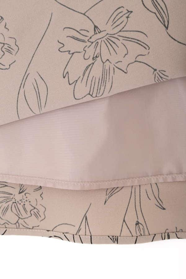 [洗える]グラフィカルフラワープリントスカート
