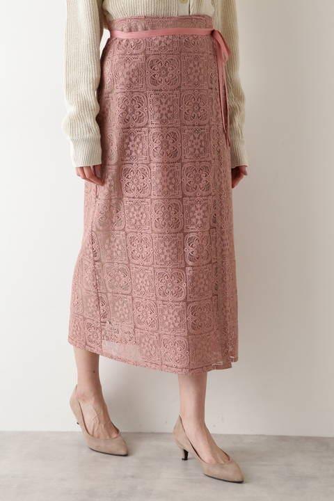 【先行予約2月上旬-中旬入荷予定】スクエアレース巻きスカート