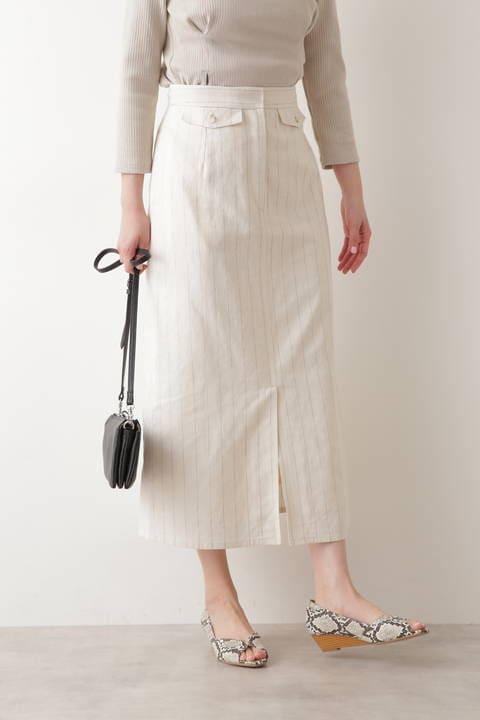 【先行予約3月上旬-中旬入荷予定】綿麻ピンストライプスカート