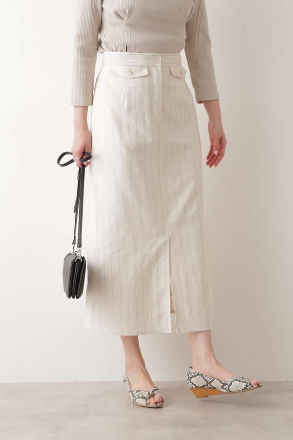 綿麻ピンストライプスカート