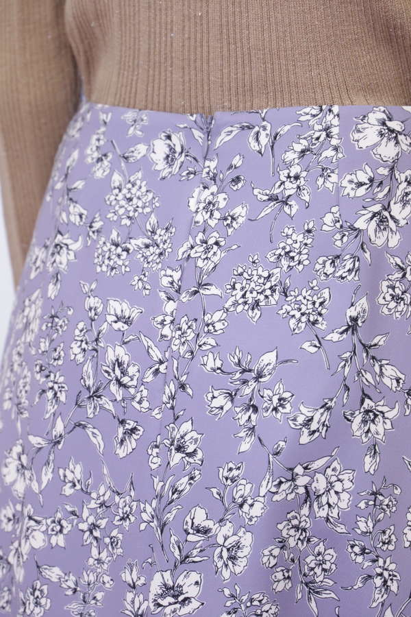 [洗える]ドローイングフラワープリントスカート