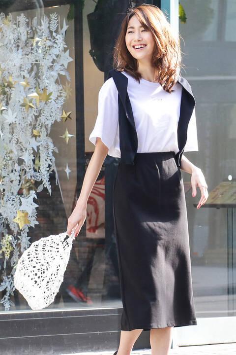 【先行予約4月中旬-下旬入荷予定】ポンチストレートスカート