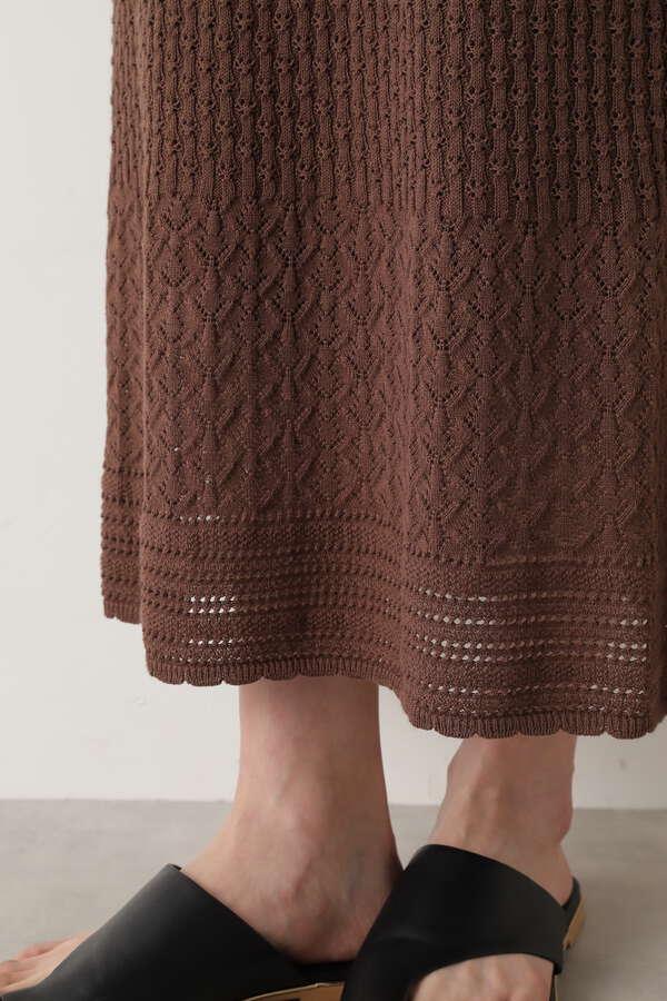透かし柄ニットセットアップ スカート