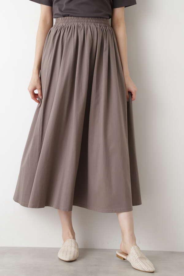[洗える]シルケット天竺 ロングスカート