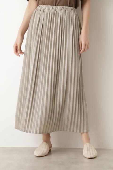 [洗える]ラメプリーツスカート