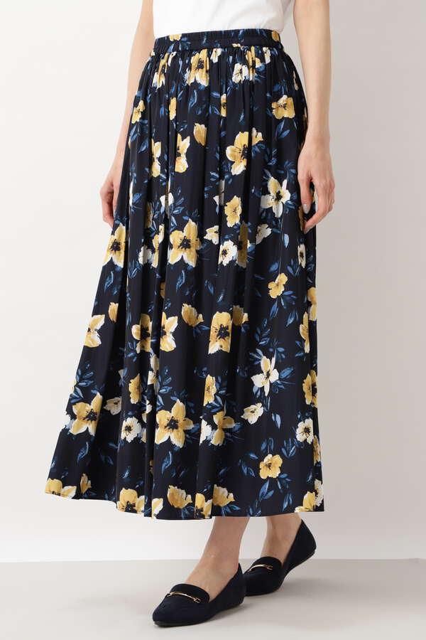[洗える]フラワーサテンギャザースカート
