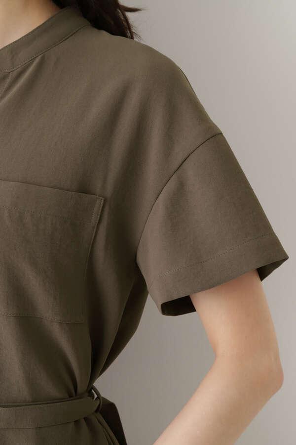 [洗える]フロントポケットシャツワンピース