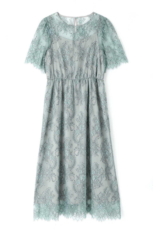 【公式/NATURAL BEAUTY BASIC】[nbbdecor]バイカラースカラレースドレス/女性/ワンピース/ミント×クロ/サイズ:M/(外側)ナイロン 75% ポリエステル 25%(内側)ポリエステル 100%