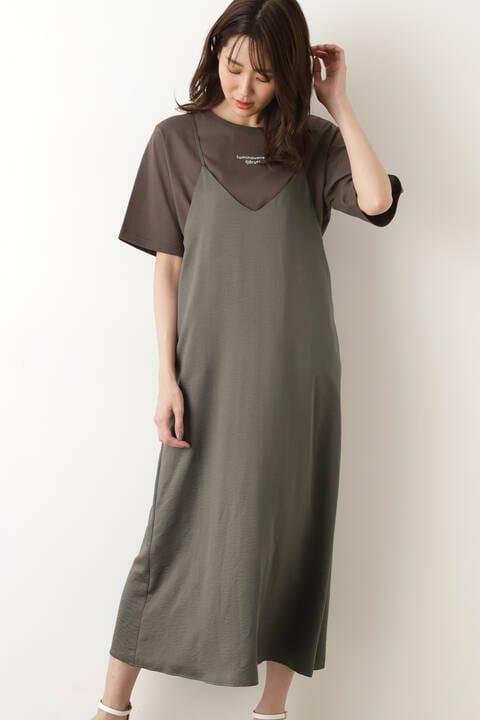 [洗える]バックディテールキャミワンピ