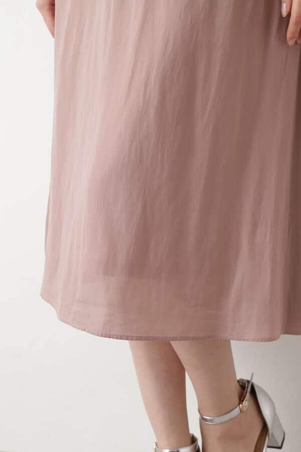 ニットチュニック×サテンスカートセットアップ