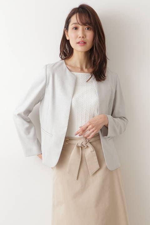 [洗える]リネン混ドビーセットアップ ノーカラージャケット