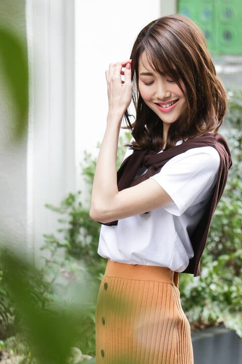 スーピマコットンベーシックVネックTシャツ半袖