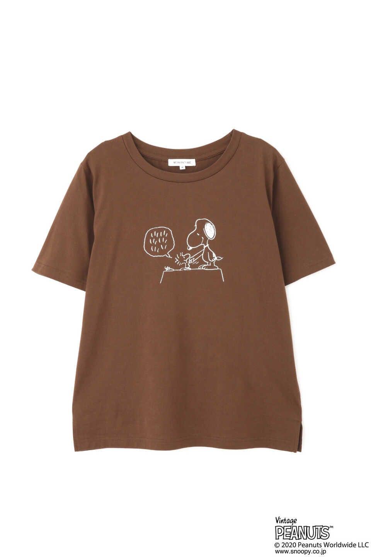 【公式/NATURAL BEAUTY BASIC】SNOOPYプリントTシャツ/女性/Tシャツ/ブラウン/サイズ:M/コットン 100%