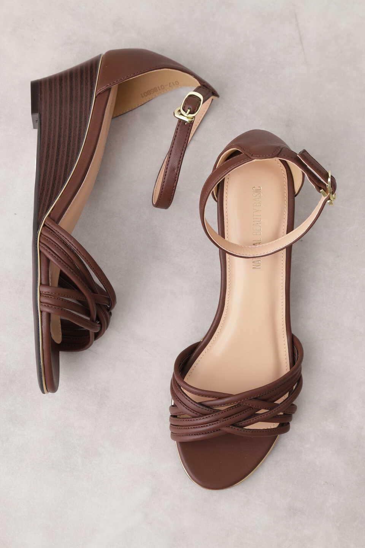 【公式/NATURAL BEAUTY BASIC】メニーストラップウエッジサンダル/女性/靴・サンダル・ミュール/ブラウン/サイズ:S/(甲皮の使用材)合成皮革(底材の種類)合成底