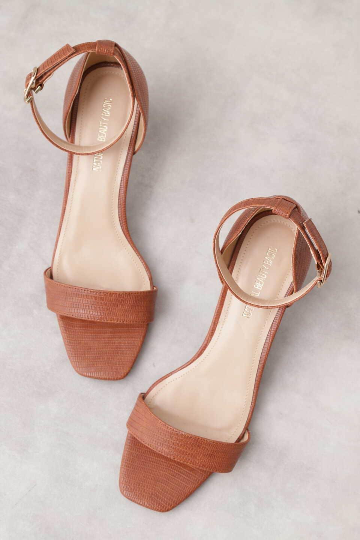 【公式/NATURAL BEAUTY BASIC】バーストラップサンダル/女性/靴・サンダル・ミュール/リザードブラウン/サイズ:S/(甲皮の使用材)合成皮革(底材の種類)合成底