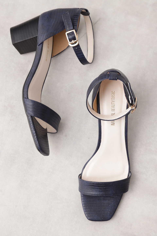 【公式/NATURAL BEAUTY BASIC】バーストラップサンダル/女性/靴・サンダル・ミュール/リザードネイビー/サイズ:M/(甲皮の使用材)合成皮革(底材の種類)合成底