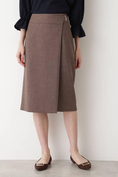 [洗える]ラップ風ハトメストレートスカート