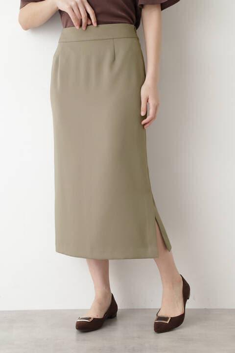 [洗える]マットサテンストレートスカート