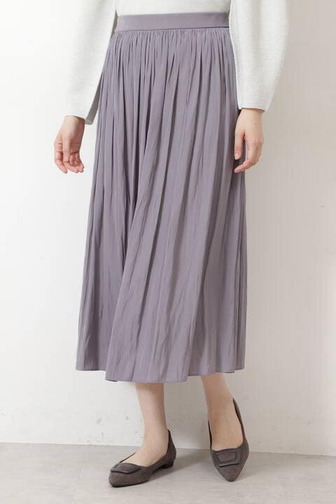 【先行予約9月上旬-中旬入荷予定】サテンギャザーミディスカート