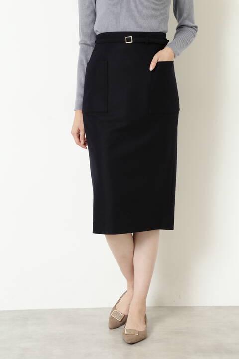 ウール混カルゼタイトスカート