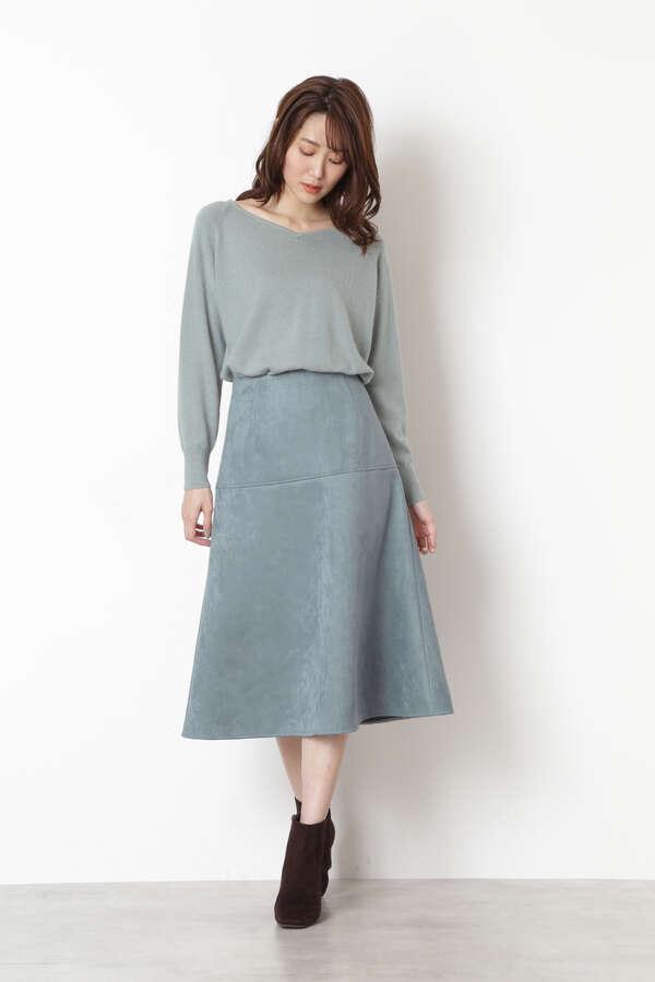 [洗える]フェイクスエードフレアスカート