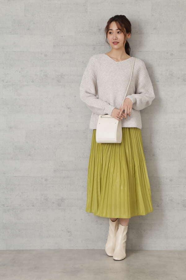 [洗える]ランダムプリーツサテンスカート