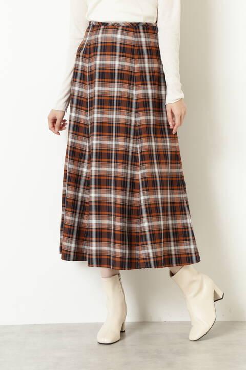 [洗える]チェックAラインスカート