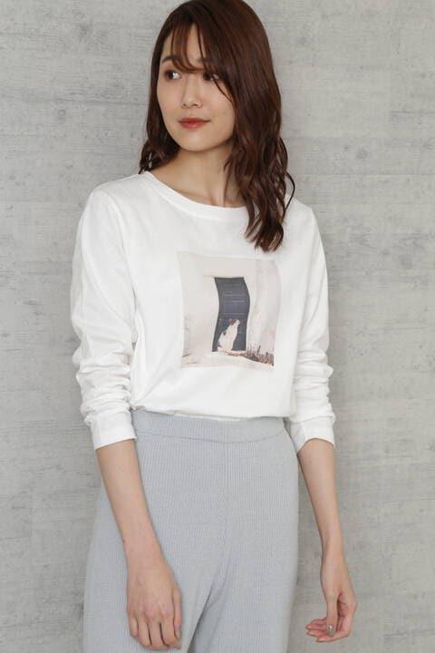 [Lounge]キャットプリントTシャツ