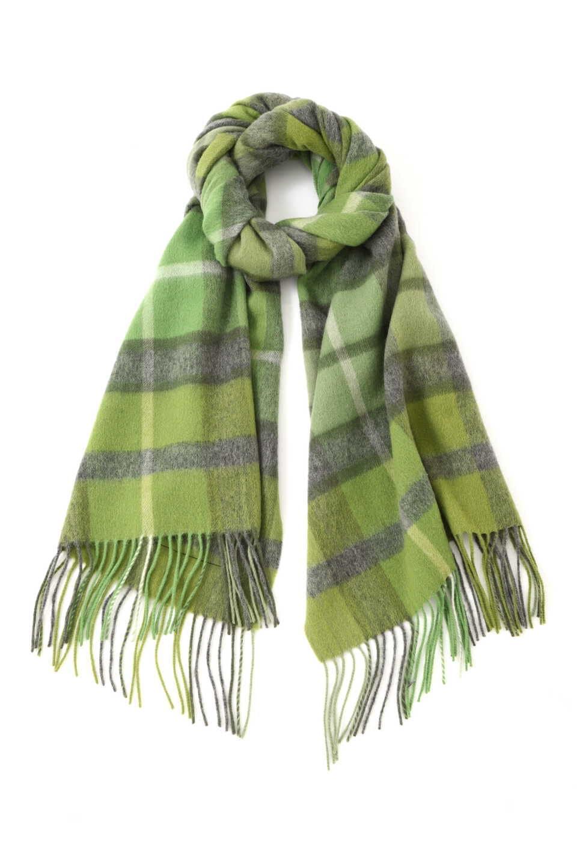 【公式/NATURAL BEAUTY BASIC】TweedMillチェックストール/女性/マフラー・スカーフ/グリーン/サイズ:FR/毛 100%