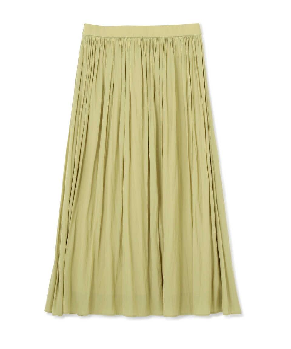 【公式/NATURAL BEAUTY BASIC】【先行予約3月下旬-4月上旬入荷予定】サテンギャザースカート/女性/スカート/シャインマスカット/サイズ:XS/(表生地)ポリエステル 100%(裏生地)ポリエステル 100%