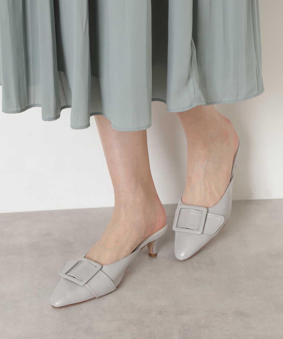【公式/NATURAL BEAUTY BASIC】ポインテッドバックルミュール/女性/靴・サンダル・ミュール/ライトグレー/サイズ:L/(甲皮の使用材)合成皮革(底材の種類)合成底