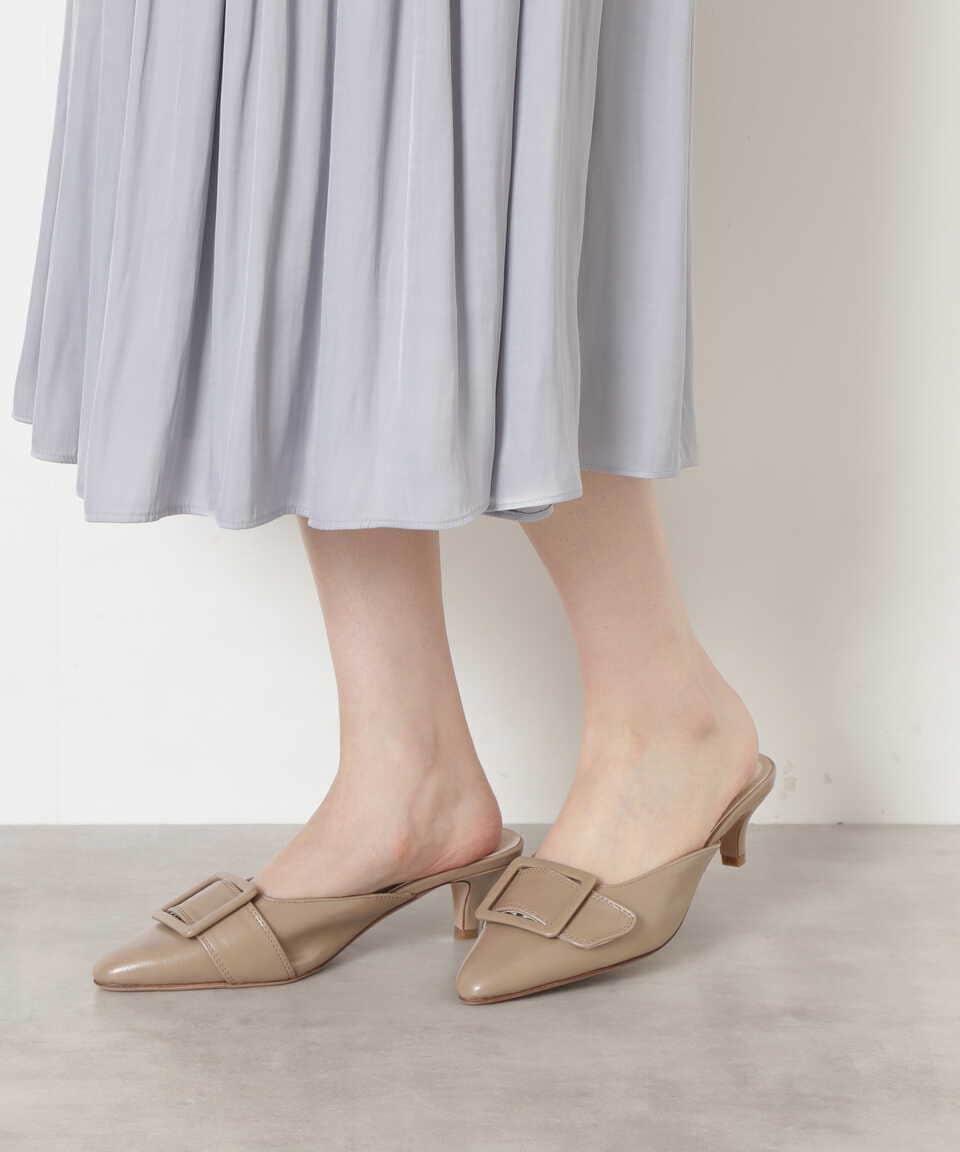 【公式/NATURAL BEAUTY BASIC】ポインテッドバックルミュール/女性/靴・サンダル・ミュール/ベージュ/サイズ:M/(甲皮の使用材)合成皮革(底材の種類)合成底