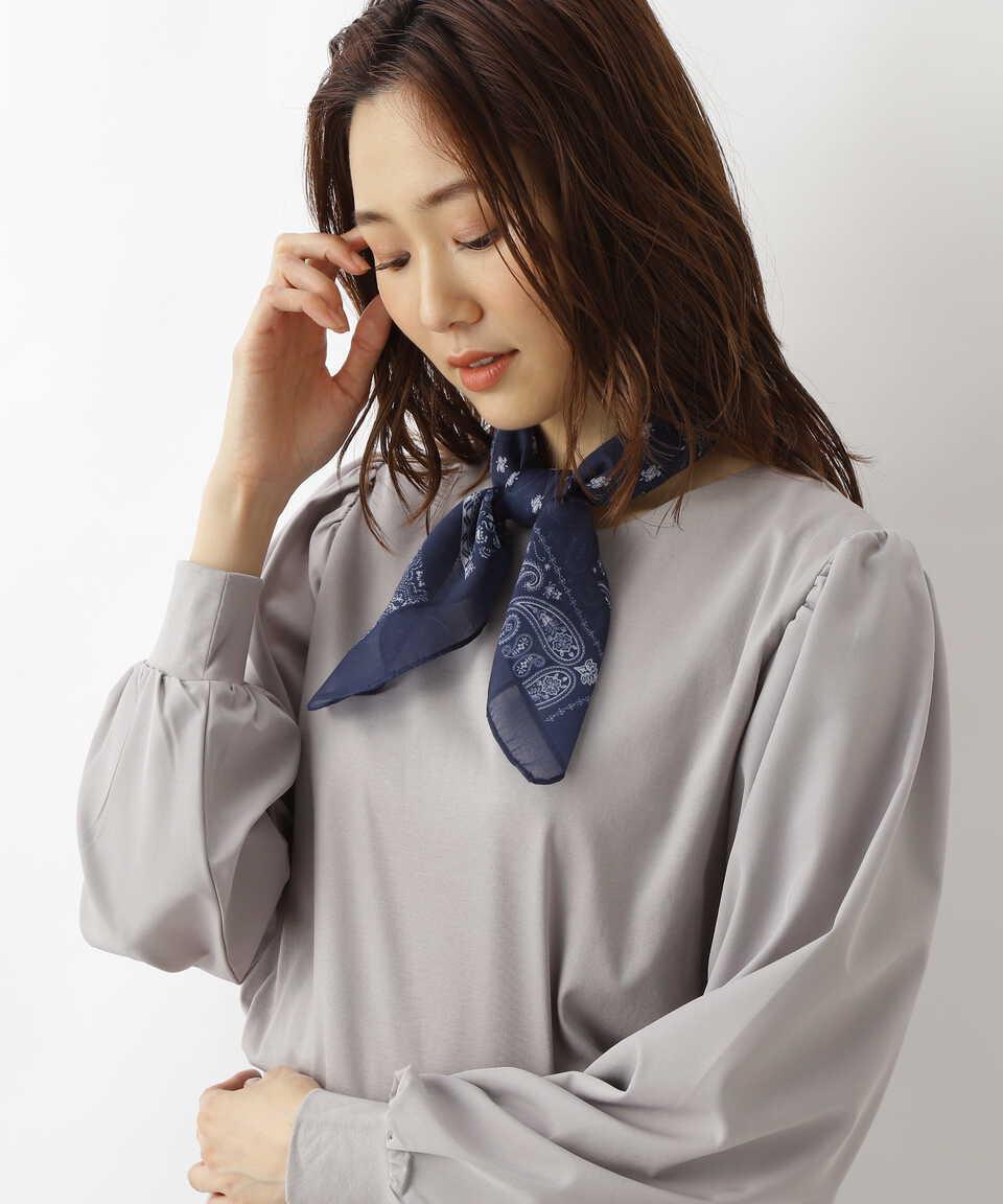 【公式/NATURAL BEAUTY BASIC】[洗える]バンダナパターンスカーフ/女性/マフラー・スカーフ/ブルー/サイズ:FR/ポリエステル 100%