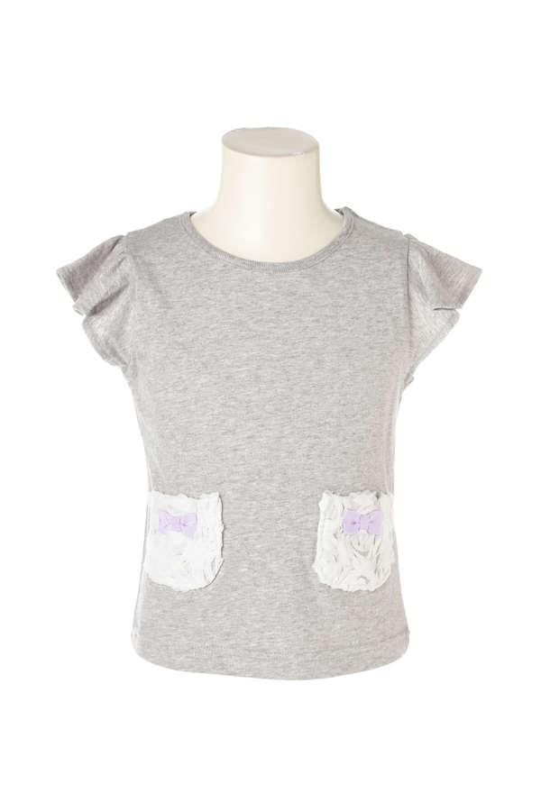 《KIDS》フラワーモチーフポケットTシャツ