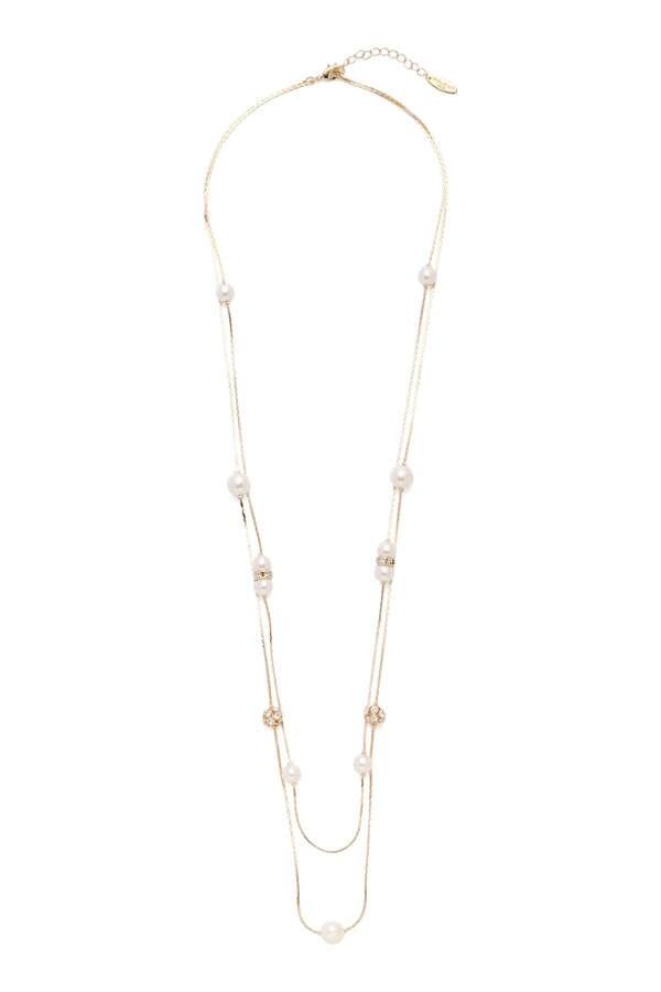 パールロング2連ネックレス