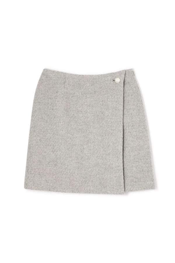パールボタンウールツイードスカート