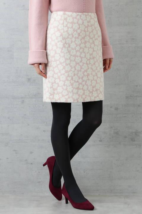 ラメフラワージャガードスカート