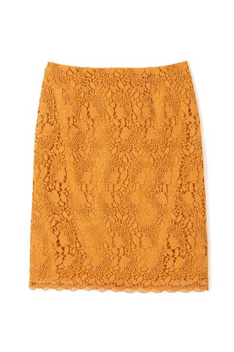 〈ウォッシャブル〉フラワーリーフレースタイトスカート