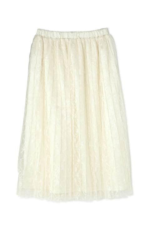 フラワーレースプリーツスカート