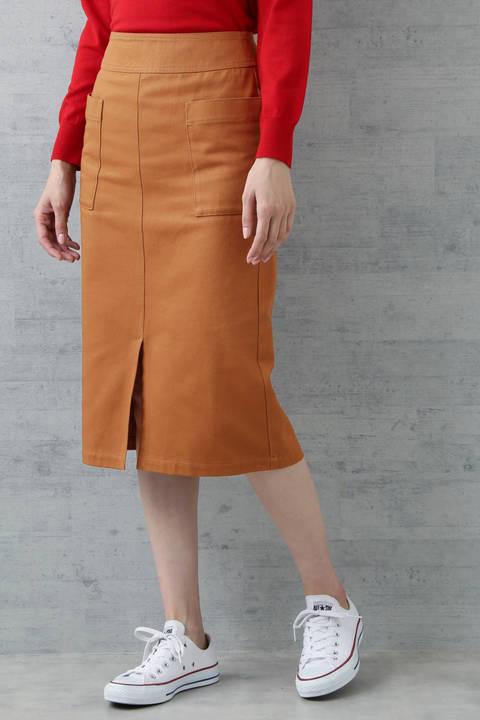 〈ウォッシャブル〉チノトレートスカート