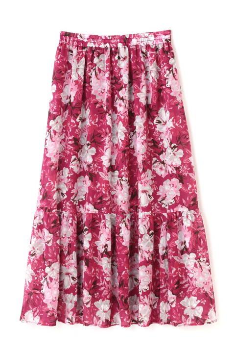 《BLUE》ボタニカルプリントスカート