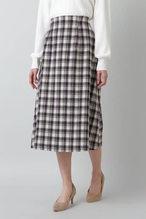 チェックAラインスカート