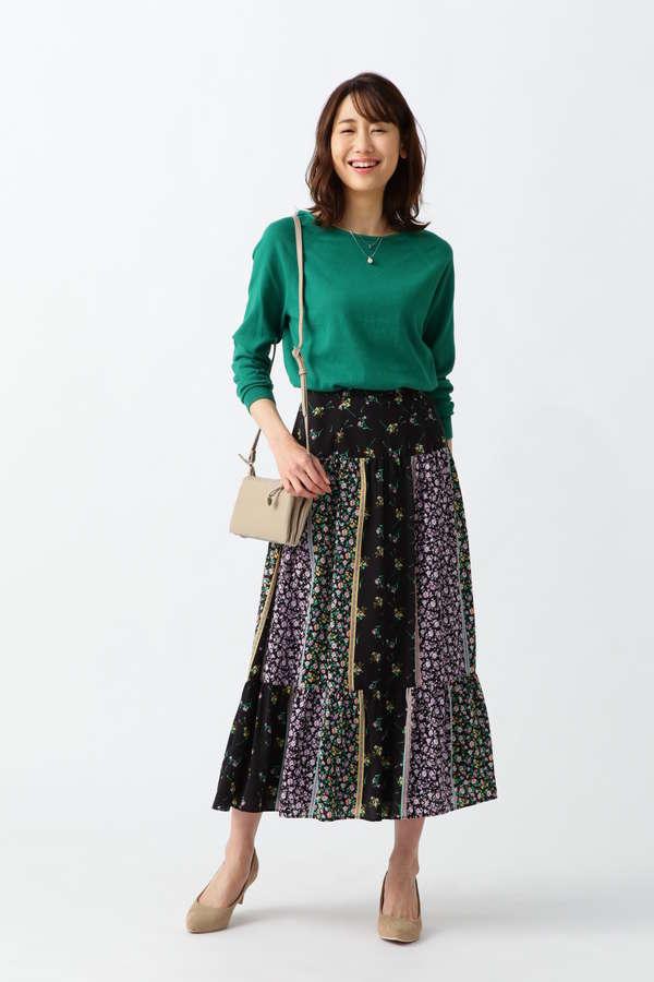 フラワーパッチワークプリントスカート