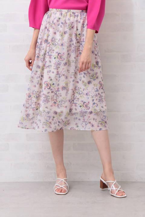 ドビーボタニカルプリントスカート