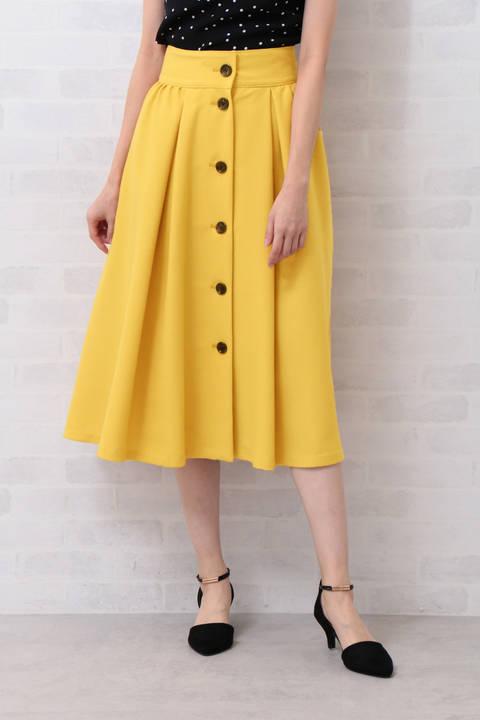 フロントボタン タックフレアマキシスカート