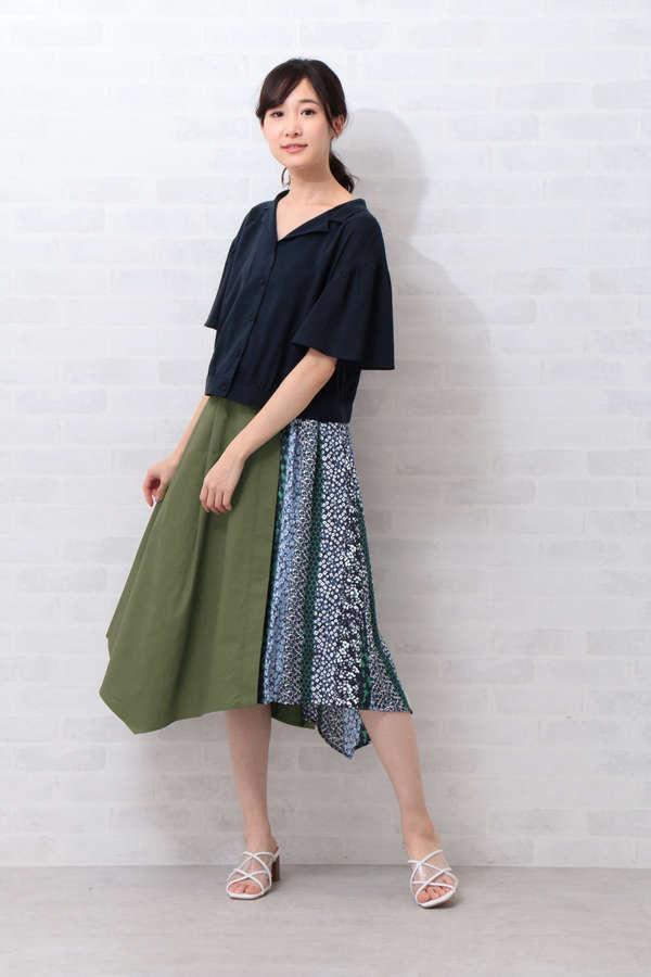 パッチワークプリント巻き風スカート